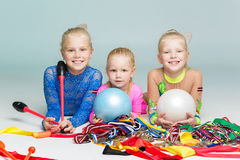 Happy children with medals Stock Images