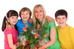 Happy children with mother Stock Images