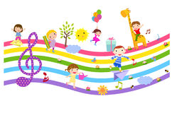 Happy children  and music. Group of cute happy children and music -illustration Stock Image