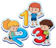 Happy children with number one two three. Illustration Royalty Free Stock Photo