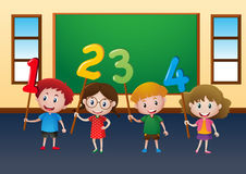 Happy children and numbers in classroom. Illustration Royalty Free Stock Photography