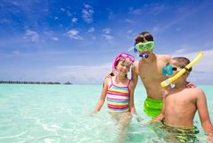 Happy Children in Ocean Stock Photography