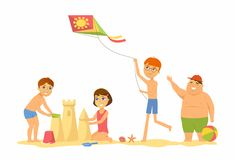 Happy Children On The Beach - Cartoon People Character Illustration Stock Photography