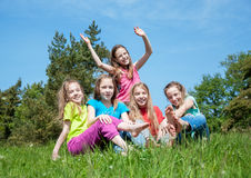 Happy children outdoors Royalty Free Stock Image