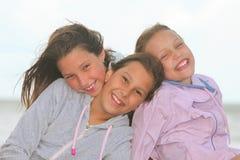 Happy children outdoors. Portrait of happy children outdoors stock photography