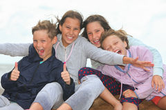 Happy children outdoors. Portrait of happy children outdoors royalty free stock photography