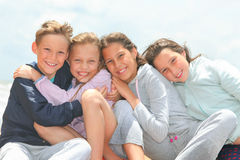 Happy children outdoors. Portrait of happy children outdoors stock images