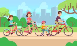 Happy children and parents riding bikes. Active family vector concept royalty free illustration