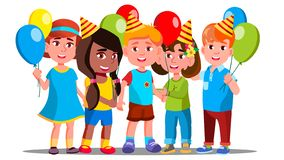 Happy Children In Party Caps With Balloons Background Vector. Isolated Illustration stock illustration