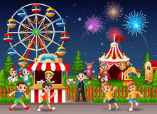 Happy children and people worker at amusement park. Illustration of Happy children and people worker at amusement park Royalty Free Stock Images