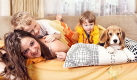 Happy children plaing with puppy in bed Royalty Free Stock Image