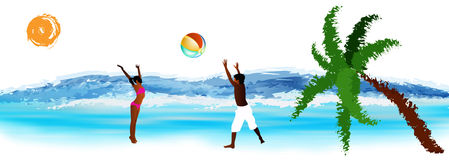 Happy children play in ball. Happy children play on exotic sea beach.Summer rest Royalty Free Stock Photography