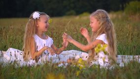 Happy children play whits blowing bubbles at summerfield. Happy children play whits blowing bubbles stock video footage