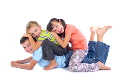 Happy children playing stock images