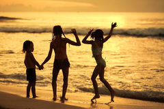 Happy children playing at the beach Royalty Free Stock Photography