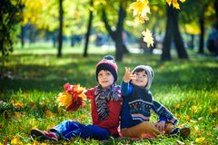 Happy children playing in beautiful autumn park on warm sunny fall day. Kids play with golden maple leaves. stock photos