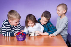 Happy children playing on Easter Royalty Free Stock Photos