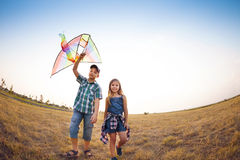 Happy children playing with flying kite on the summer field Stock Images