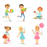 Happy children playing with funny toys on playground. Vector illustrations Stock Photos