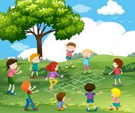 Happy children playing hopscotch in park. Illustration Royalty Free Stock Photos