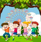 Happy children playing in park with ferris wheel in background. Illustration Royalty Free Stock Photo