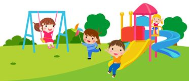 Happy children playing in park. Illustration Royalty Free Stock Images