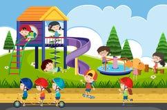 Happy children playing in playground Vector Illustration
