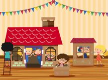 Happy children playing in playhouse. Illustration Royalty Free Stock Images