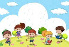 Happy children playing in the rain. Illustration Royalty Free Stock Photography