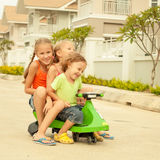 Happy children playing on the road Royalty Free Stock Image