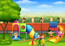 Happy children playing in the school playground. Illustration of Happy children playing in the school playground Stock Image