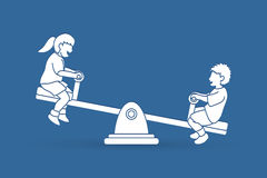 Happy Children are playing seesaw together. Happy Children, Little boy and girl are playing seesaw together graphic vector Royalty Free Stock Photos