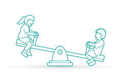 Happy Children are playing seesaw together. Happy Children, Little boy and girl are playing seesaw together graphic vector Stock Photography