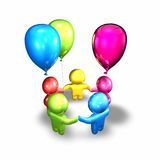 Happy children playing together with balloons. Stock Photo