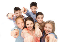 Happy children pointing finger to you Royalty Free Stock Photos