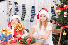 Happy children preparing for New Year and Christmas celebration Stock Images