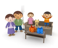 Happy children present. Family fun time. Boys and girls happy about receiving a gift Royalty Free Stock Photography