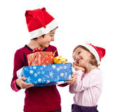 Happy children with present having fun Royalty Free Stock Photo