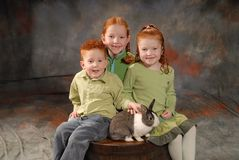 Happy Children with Rabbit. Smiling children with pet rabbit (breed is a Dutch rabbit). Children are siblings aged seven, five and three Stock Image