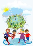 Happy children and rain, Stock Photography