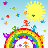 Happy children on a rainbow Stock Images