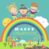 Happy children with rainbow and carousel Royalty Free Stock Image