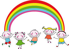 Happy children and rainbow Stock Photo