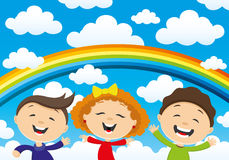 Happy children and a rainbow Royalty Free Stock Photo