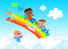 Happy children on rainbow Royalty Free Stock Photography