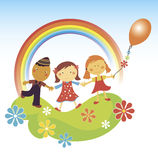 Happy children.rainbow. Stock Images