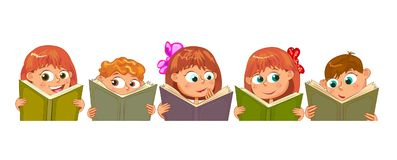 Happy children read books Royalty Free Stock Image