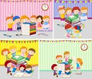 Happy children reading books Stock Images