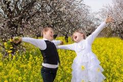 Happy children rejoicing Stock Photos