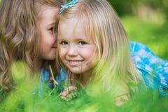 Happy children relaxing on green grass in summer park Stock Photos
